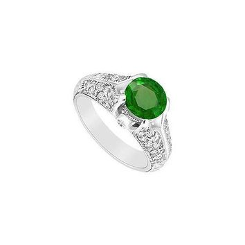 Emerald and Diamond Engagement Ring : 14K White Gold - 1.00 CT TGW