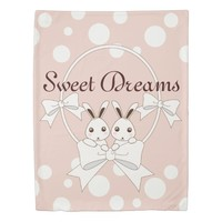 Cute Bunnies w/ Ribbons Animal Pastel Pink Kids Duvet Cover