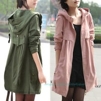 Womens Korean Style Babydoll Hooded Long Trench Jacket