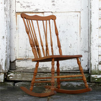 Antique Wooden Rocking Chair/ Minimal/ Circa 1800s Victorian Early American/ Spindle Back/ Distressed Aged/ Kitchen Dining Table