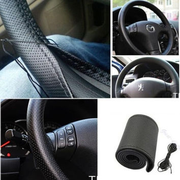 DIY Leather Car Auto Steering Wheel Cover With Needles and Thread Black hot sale = 1931814660