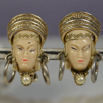 Vintage Asian Princess Clip Earrings Asian Girl Clip Earrings SELRO/SELINI Unsigned Figural Earrings
