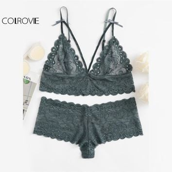 COLROVIE Scalloped Eyelet Detail Strappy Bra & Pantie Lingerie Set 2017 Lace Bow Sexy Women Underwear Ladies Stretchy Nightwear