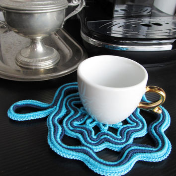 Crocheted turquoise and navy blue hot pad, trivet, coaster for a cup of coffee, decoration for the kitchen wall, Mother's Day gift