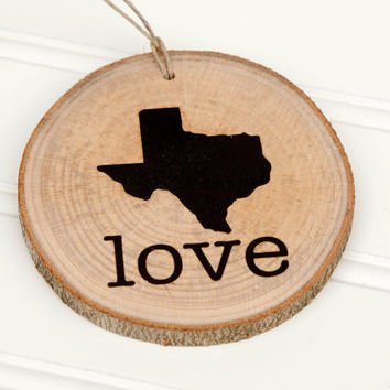 Texas Love state shape Maple wood slice ornaments - Set of 4.  Wedding favor, Bridal Shower, Country Chic, Rustic, Valentine Gift