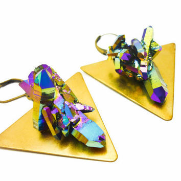 Titanium Rainbow Quartz on Geometric Triangle Statement Earrings