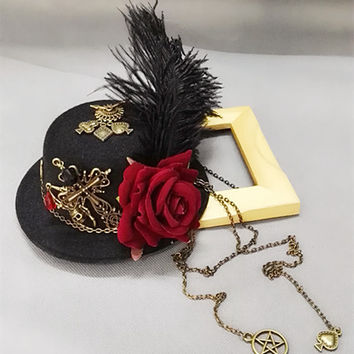 Retro Women Steampunk Rose Mini Top Hat Goth Geer Cross Chain Girl Hair Accessory Handmade Punk Party Hair Accessories