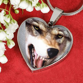 Luxury 3D Wolf Head Heart-Shaped Stainless Steel Pendant Adjustable Snake-Chain Necklace