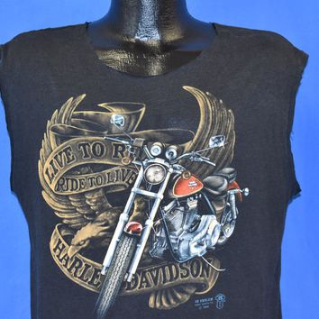 80s 3D Emblem Harley Davidson Live to Ride Sleeveless t-shirt Large