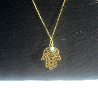 Hamsa necklace, gold necklace, gold hamsa necklace, filigree necklace, charm necklace, hamsa hand