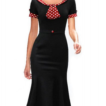 Black Short Sleeve Polka Dot Flounced Dress