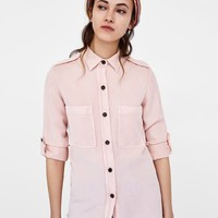 LOOSE - FITTING SHIRT WITH POCKETS-View All-SHIRTS | TOPS-WOMAN | ZARA United Kingdom