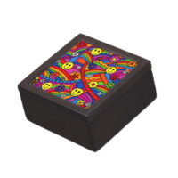 Smiley Face Rainbow and Flower Hippy Pattern Premium Keepsake Boxes