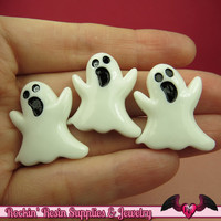 4 pcs GHOST Halloween Resin Flatback Decoden Cabochons 27x24mm