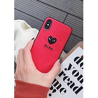 PLAY Tide brand love embroidery iPhone XS Max mobile phone case cover Red