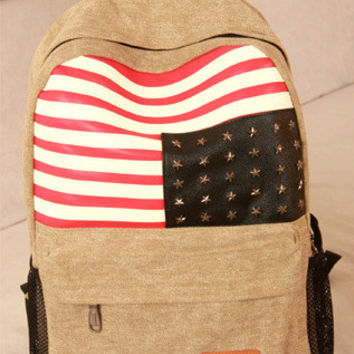 Back To School College Hot Deal Comfort Stylish On Sale Rivet Stripes Rinsed Denim Canvas Casual Backpack [8070741767]