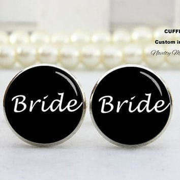 Bride  Cufflinks , Custom TEXT, Best Gifts For Father, with Free Gift Box,Silver cufflinks