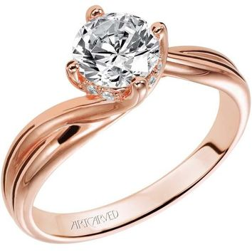 "Artcarved ""Whitney"" Rose Gold Bypass Twist Diamond Engagement Ring"