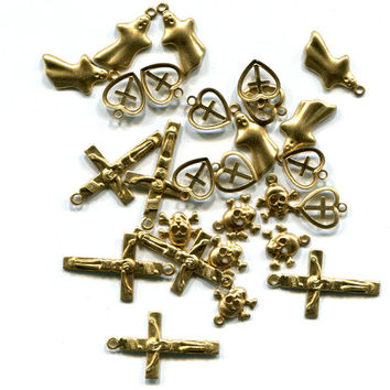 27 gold brass metal charms, cross, skulls, hearts, ghosts, mixed charm lots 8mm to 24mm lot