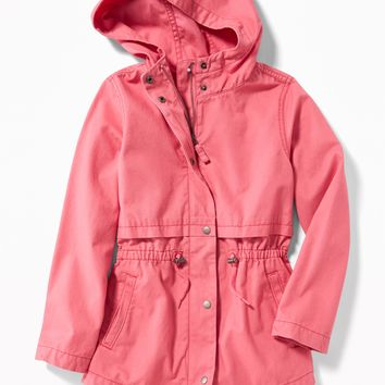 Twill Hooded Field Jacket for Girls|old-navy