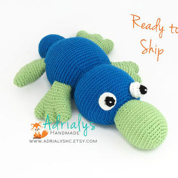 Crochet Platypus- Crochet Animals, Pink Toys, Blue Toys, Stuffed Platypus, Australian Animals, Handmade Platypus, Crochet Toy- Ready to Ship