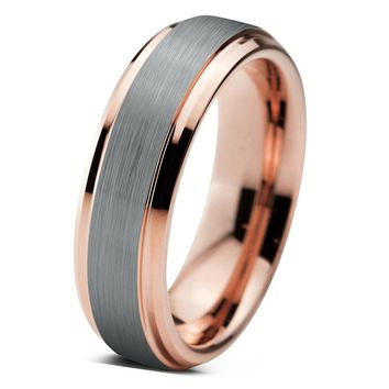 Tungsten Wedding Band Mens Wedding Ring Rose Gold Anniversary Band Grooms Ring 6mm Man Rose Gold Engagement Band Handmade His Hers Brushed 6mm 18k Rose Gold Ring Wedding Bands
