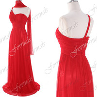One Shoulder Sweetheart Long Chiffon Red Prom Dresses, Red Evening Gown, Wedding Party Dresses