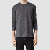 Mens Jontrey Long Sleeved Crew T-shirt (Charcoal Marl) | ALLSAINTS.com