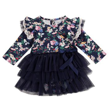 Newborn Baby Girls Infant clothes round neck long sleeve Ruffle Floral print cotton casual Tutu Tulle Dresses one pieces