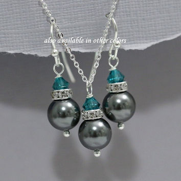 Teal and Dark Grey Jewelry Set, Charcoal and Teal Wedding Jewelry Set, Personalized Bridesmaid Jewelry Set, Maid of Honor Gift Jewelry Set