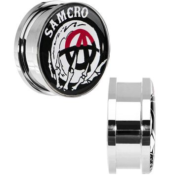 "7/8"" Surgical Steel Sons of Anarchy Skull Hand SAMCRO Screw Fit Plug Set"