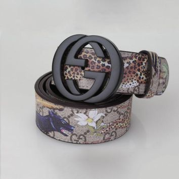 DCCK0 GUCCI Fashion Flower Print Smooth Buckle Belt Leather Belt