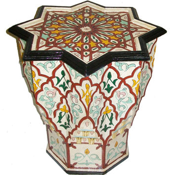 Handpainted Burgundy/White Atlas Star Wooden End Table (Morocco) | Overstock.com