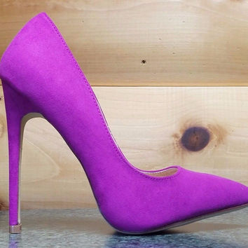 "Liliana Purple FX Suede Single Sole Pointy Toe Pump 5"" Heel Shoe 7-11"