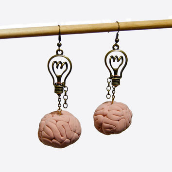 Bright Idea Mad Scientist Steampunk or Zombie Brain and Lightbulb Earrings