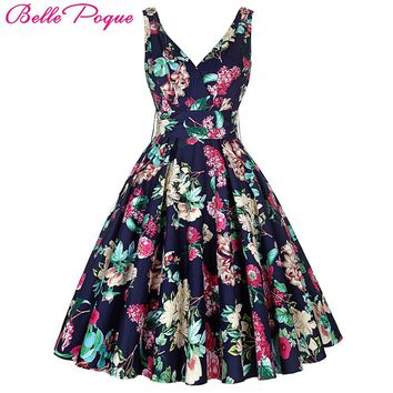 Belle Poque Women Big Swing Summer Dress 2017 Casual Retro Vintage 50s 60s Floral Print Dresses Clothes Elegant Tunic Vestidos