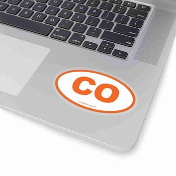 Colorado CO Euro Oval Sticker ORANGE