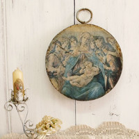 Vintage Madonna wood plaque wall decor Virgin Mary mother of Jesus Shabby chic distressed aged Baby Jesus