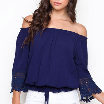 Molly Off The Shoulder Top - Navy