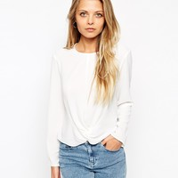 ASOS Long Sleeve Top With Knot Front Detail at asos.com