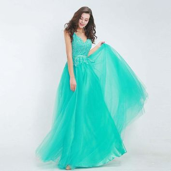 Elegant Bridesmaid Dresses V-Neck Backless Lace Tulle Floor-Length Maxi Long Green Prom Party Gown