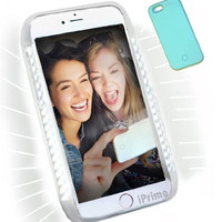 iPhone 6 6 Plus and 6s 6s Plus ONLY. Bright LED Soft Lighting (Dimmable) Cell Phone Case by iPrimio. Great for Selfies. Facetime. Flashlight