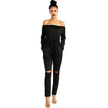 Off Shoulder Bow XXL Black Bodycon Solid Jumpsuit Long Ruched Plus Size Knee Hole Jumpsuit Woman Summer Fall 2016 Romper
