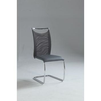Chintaly Nadine Meshed Back Cantilever Side Chair In Gray