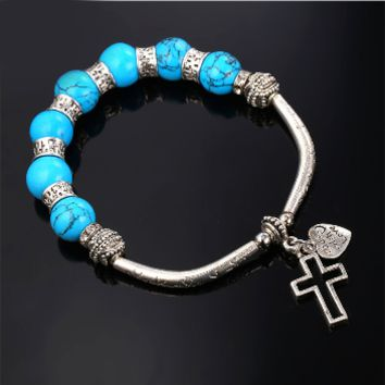 Antique Silver Vintage Bead Bracelets For Women. Blue Stone Cross Bracelet Bangle Bohemian Style.