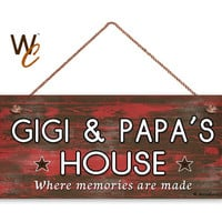 "GIGI and PAPA'S House Sign, Where Memories Are Made, Distressed Red Wood Style, Gift For Grandparents, 6"" x 14"" Sign, Made To Order"