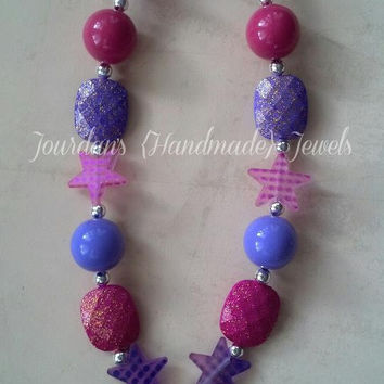 Pink Purple Star Cowgirl Boot Chunky Beaded Polymer Clay Necklace FREE Shipping