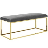 Anticipate Fabric Bench, Gold Gray -Modway