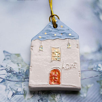 I LOVE YOU Blue house ornament, Christmas tree decor, Clay Tags, White Glazed Ceramics ornament, Living room decor