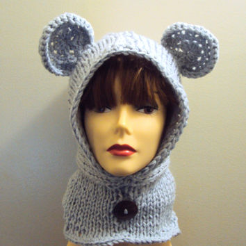 Women Knit Bear Hat Hooded Cowl Scarf Hoodie Scoodie Grey Winter Earwarmer Snowboard Hat Neckwarmer Child and Adult Size